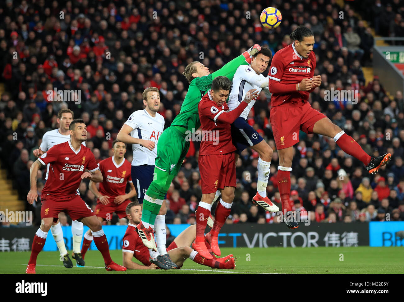Liverpool S Virgil Van Dijk Right Jumps For A Header During The Stock Photo Alamy