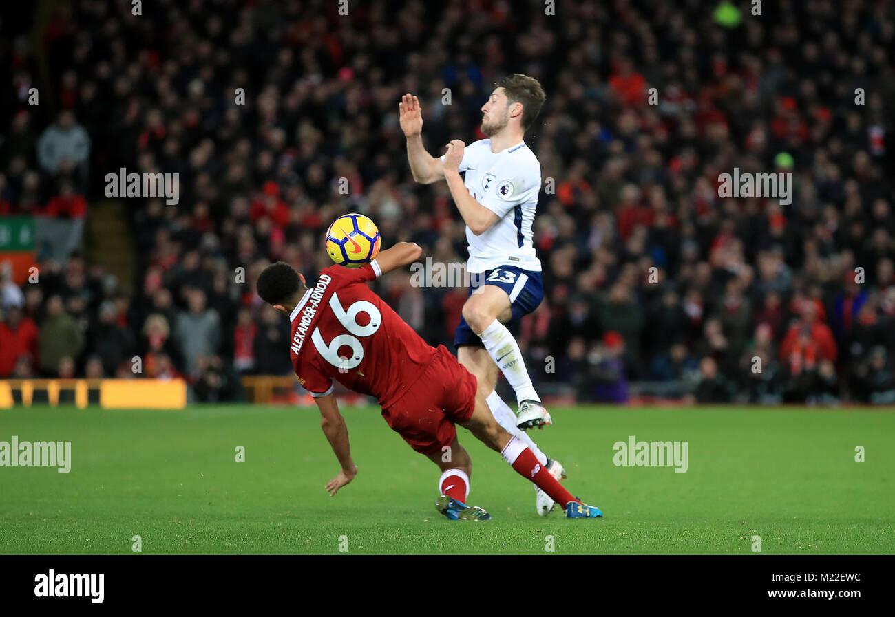 150034b7b Liverpool s Trent Alexander-Arnold (left) fouls Tottenham Hotspur s Ben  Davies during the Premier League match at Anfield