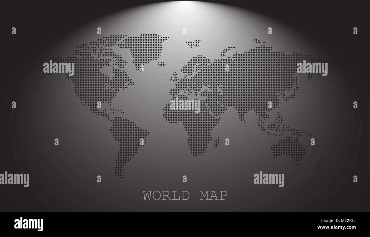 Dotted blank black world map isolated on grey background. World map ...