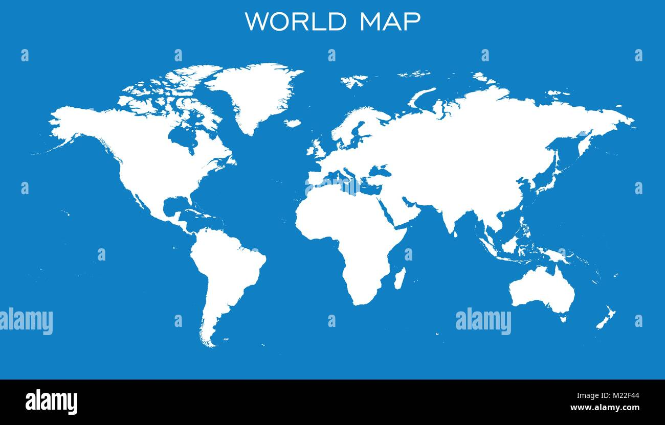 Blank white world map isolated on blue background world map vector blank white world map isolated on blue background world map vector template for website infographics design flat earth world map illustration gumiabroncs Gallery