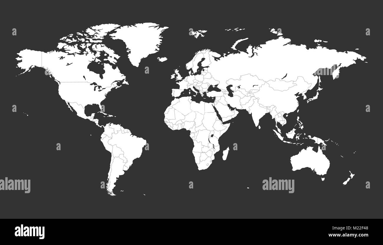 Blank white political world map isolated on black background stock blank white political world map isolated on black background worldmap vector template for website infographics design flat earth world map illustr gumiabroncs Gallery