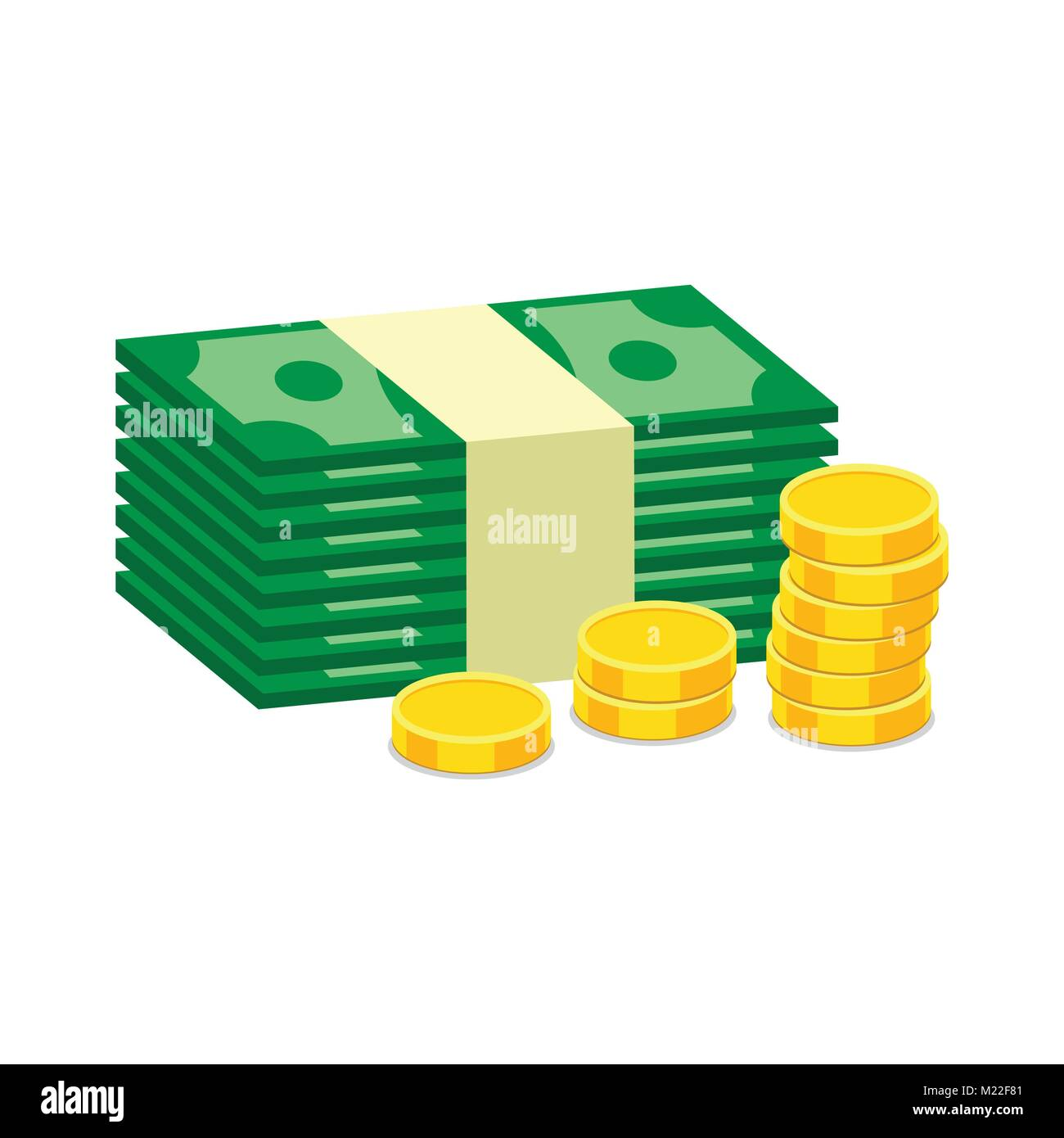 cb40ae6c4e54 Stacks of gold coins and dollar cash. Vector illustration in flat design on  white background