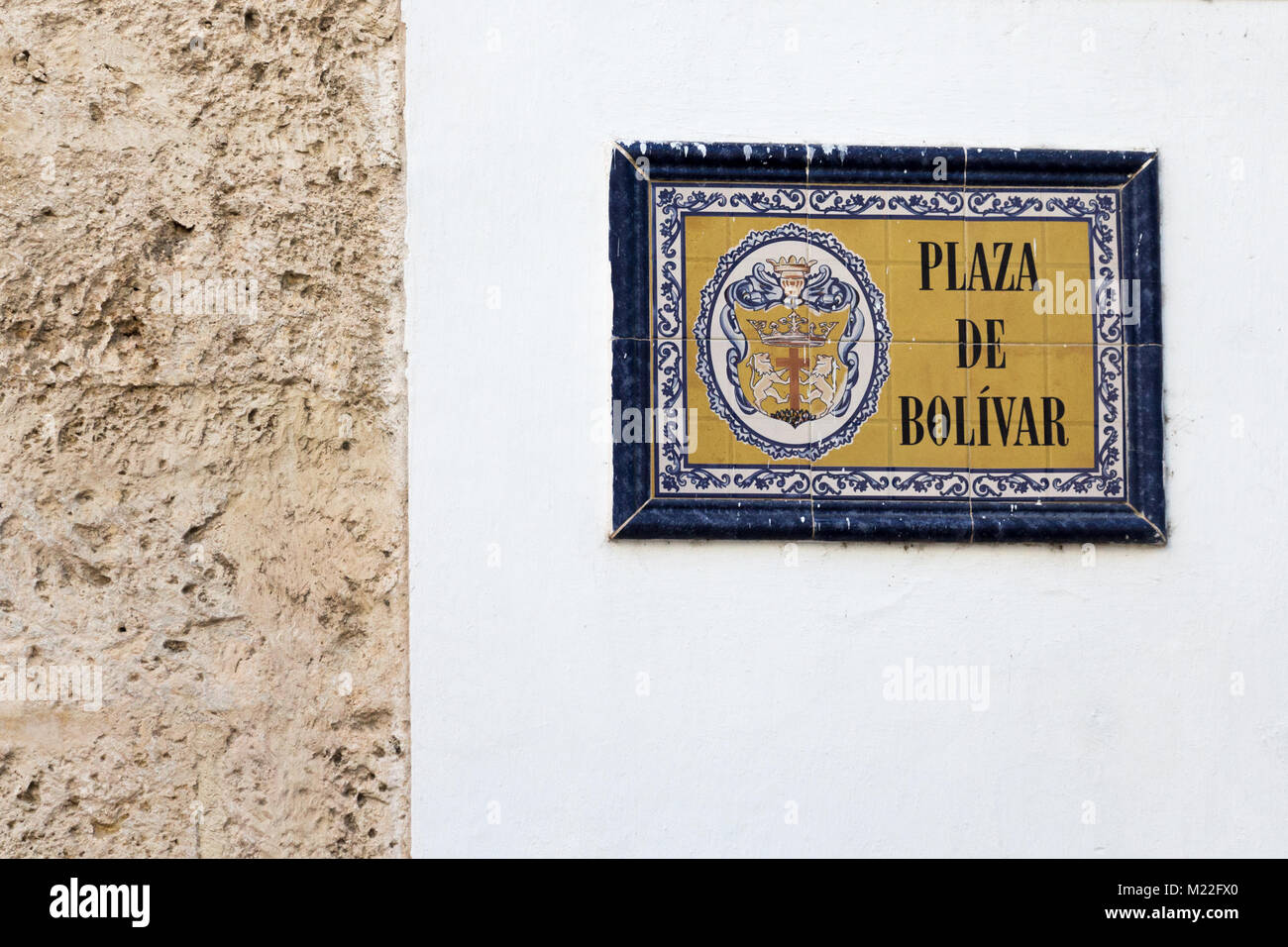 Plaza de Bolivar street plate on a wall at the old colonial town in Cartagena Colombia. - Stock Image