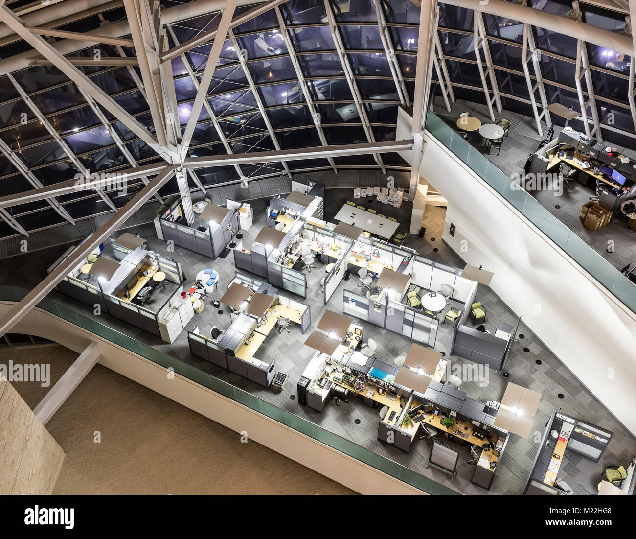 Office cubicles from above, Canadian Museum for Human Rights, Winnipeg, Manitoba, Canada. - Stock Image