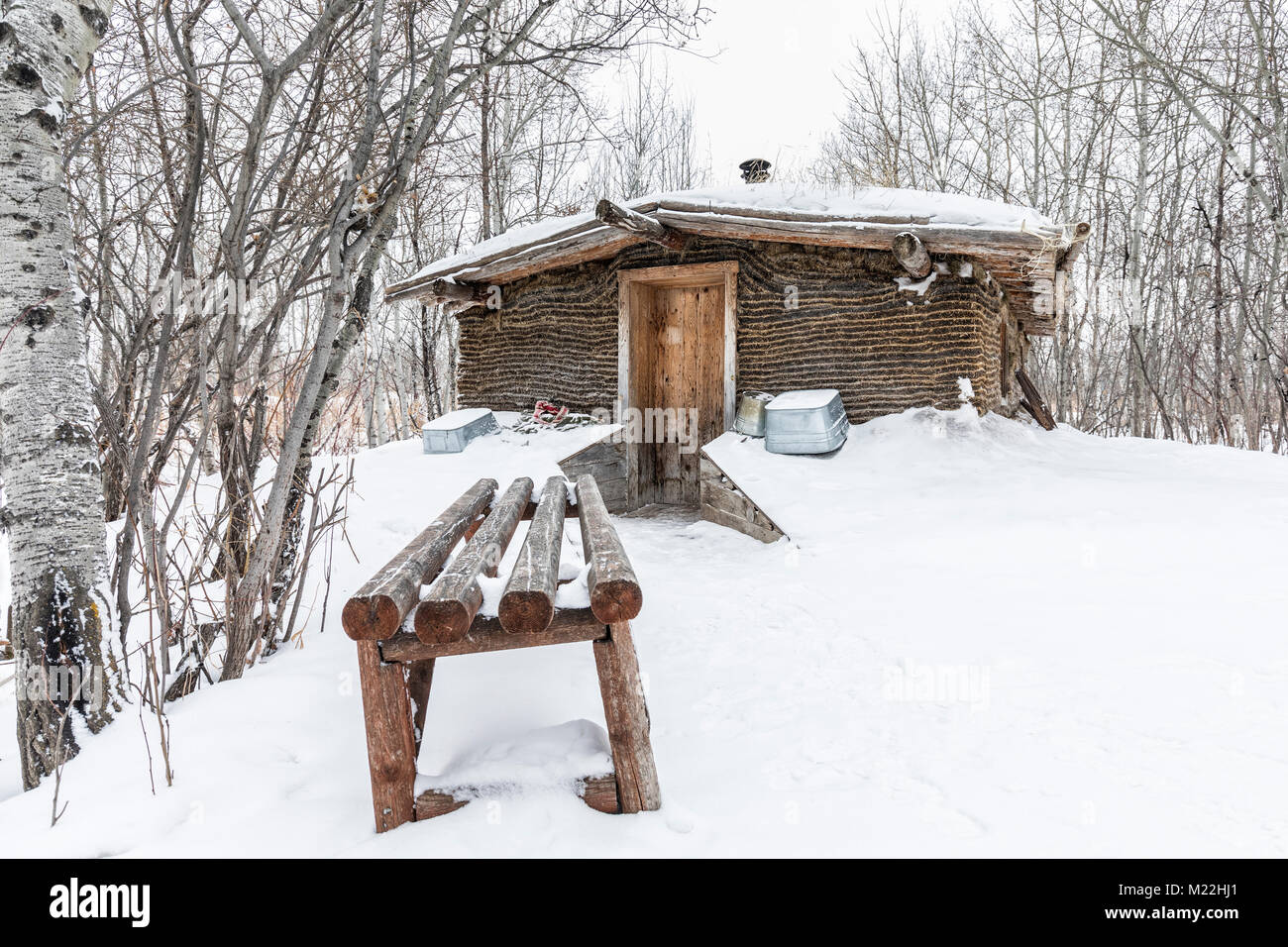Sod house in winter, Manitoba, Canada. - Stock Image