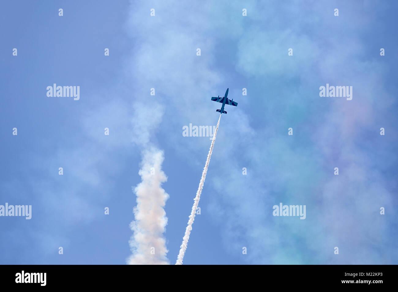 Flight of reactive plane - solo pilot of Italian acrobatic aircraft team Frecce Tricolori (Tricolour Arrows) - Stock Image