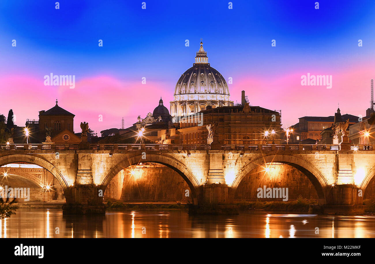 Sunset view of the Vatican with Saint Peter's Basilica,Rome, Italy. - Stock Image