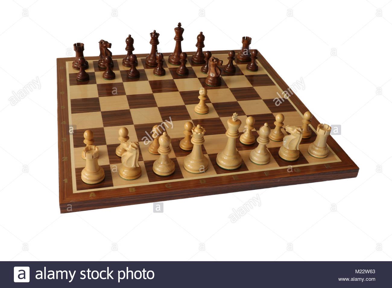 Chess opening. Alekhine Defence. - Stock Image