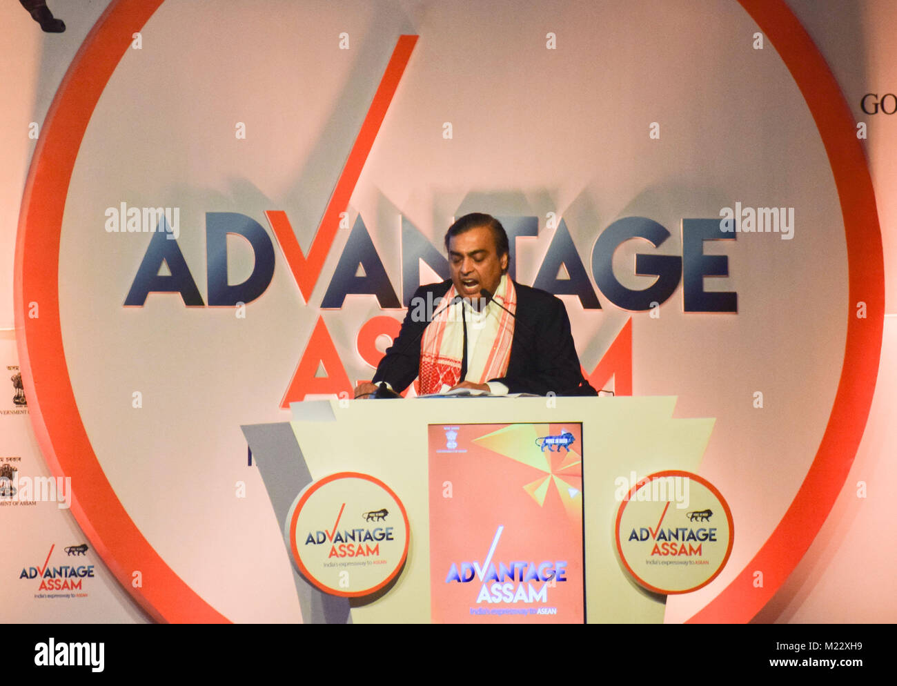 Guwahati, India. 03rd Feb, 2018. Industrialist Mukesh Ambani delivers a speech at the Advantage Assam- Global Investors - Stock Image