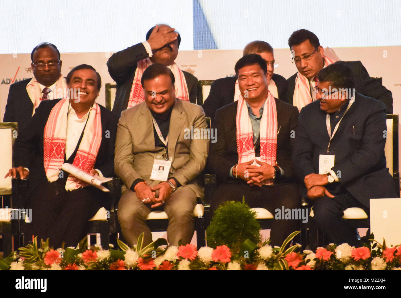 Guwahati, India. 03rd Feb, 2018. Industrialist Mukesh Ambani along with minister and delegates in the inauguration - Stock Image
