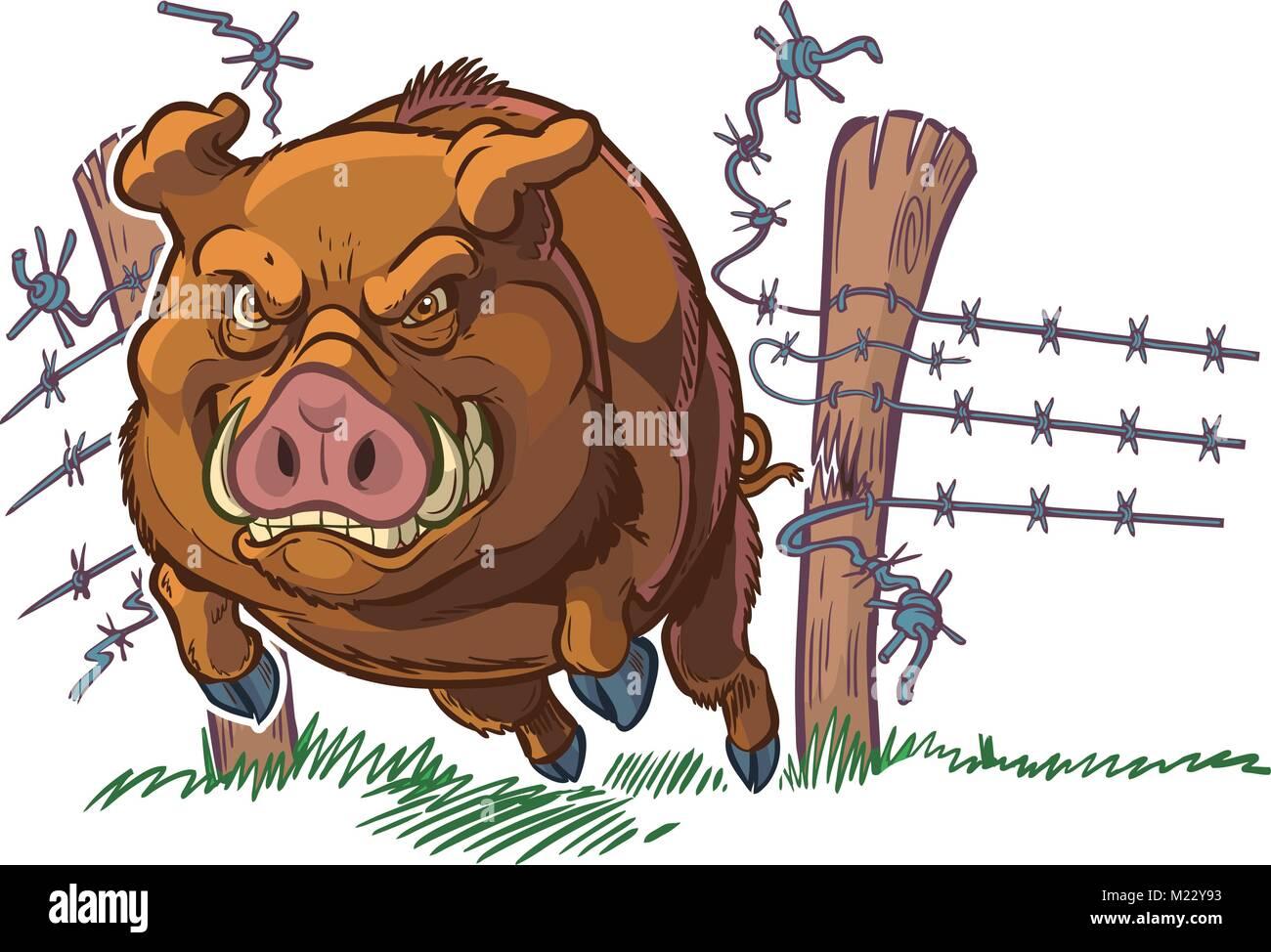 Vector Cartoon Clip Art Illustration Of A Tough And Mean Pig Or Hog