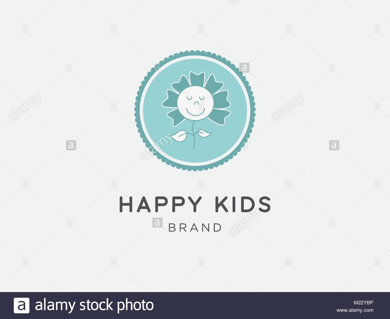 Cartoon flower illustration. Kids brand logo. - Stock Vector