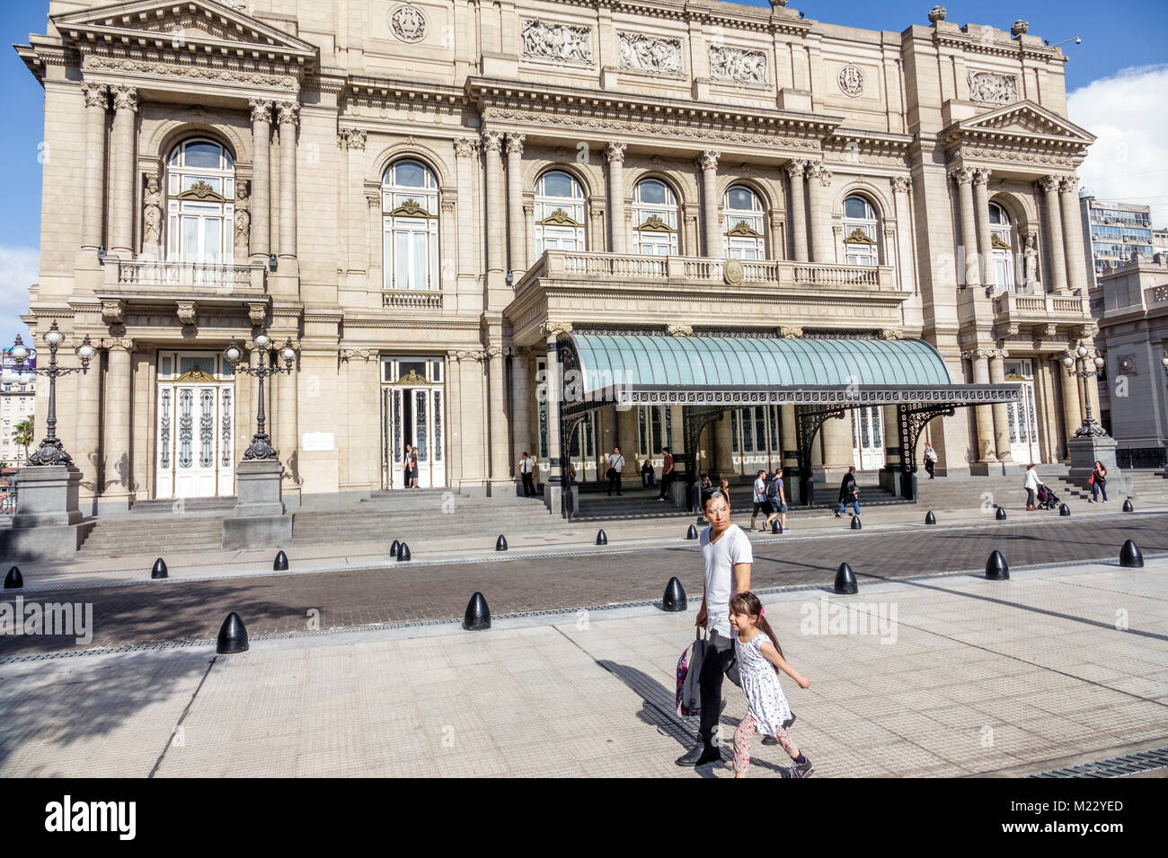 Buenos Aires Argentina Libertad Street Teatro Colon opera house theater theatre exterior facade Eclectic architecture - Stock Image