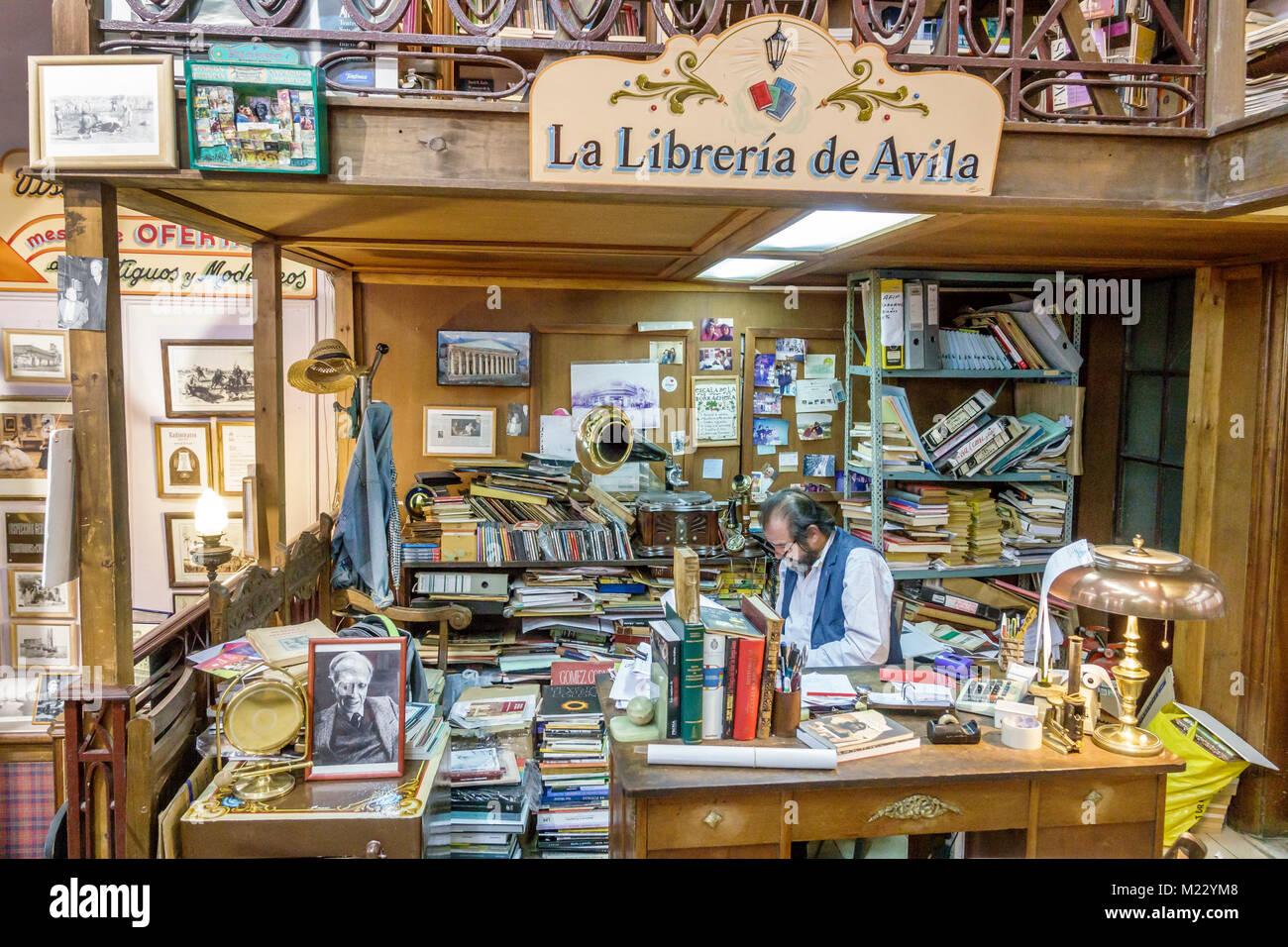 Buenos Aires Argentina historic center La Libreria de Avila interior books bookstore sale used books antiques rare - Stock Image