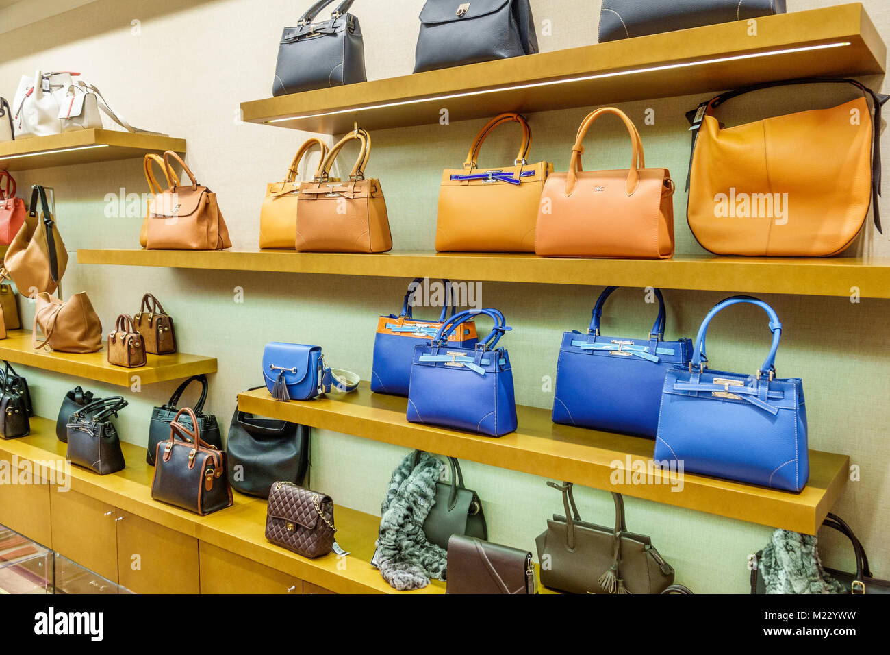 Buenos Aires Argentina Galerias Pacifico mall shopping Rossi & Caruso designer boutique Argentine leather goods - Stock Image