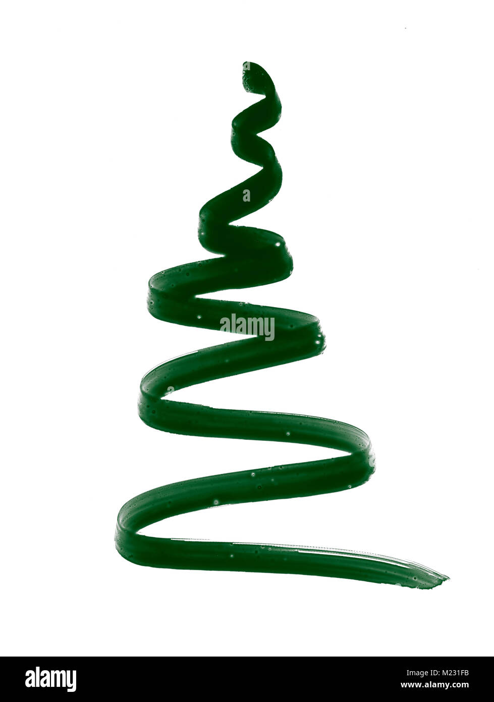 Stylization tree, or a tape made of green eyeliner on a white background - Stock Image