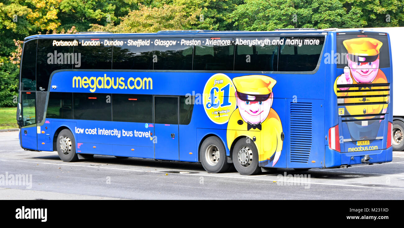 Megabus Intercity public transport bus service double decker coach operated by Stagecoach Group parked in London - Stock Image