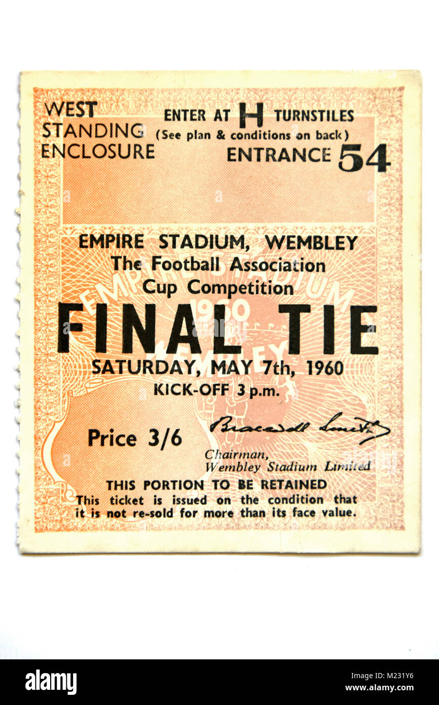 1960 FA Cup Final ticket for football match Blackburn Rovers & Wolverhampton Wanderers at Empire Stadium Wembley - Stock Image