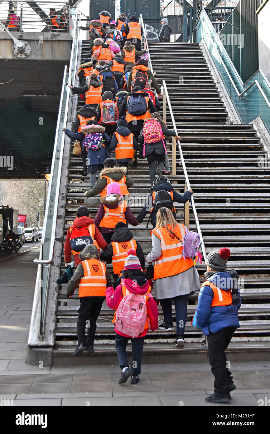 Group of primary school children in high visibility vests with teachers & assistants climbing steep steps onto - Stock Image
