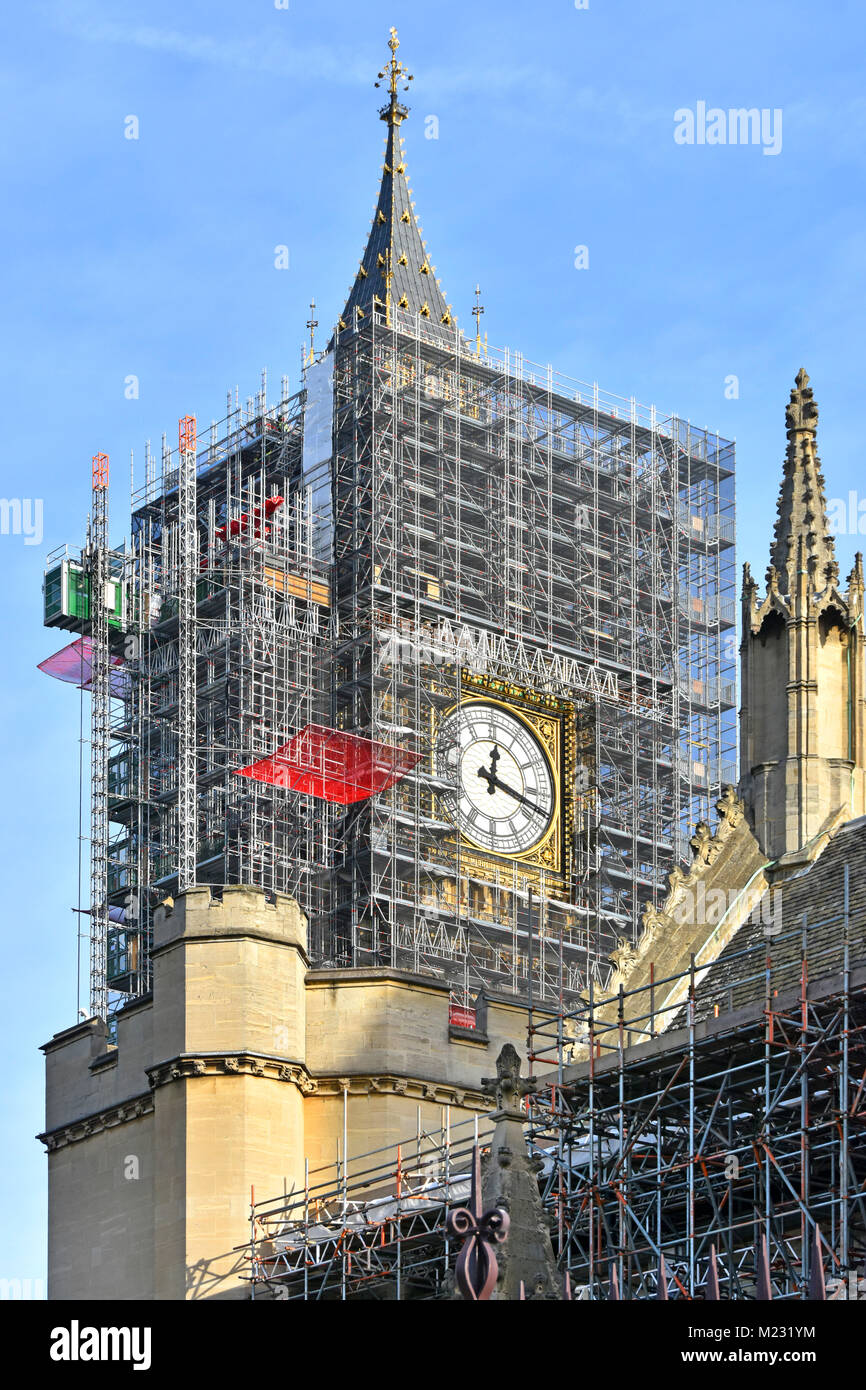 Scaffolding around Big Ben Elizabeth Tower at Houses of Parliament Westminster for major refurbishment project one - Stock Image