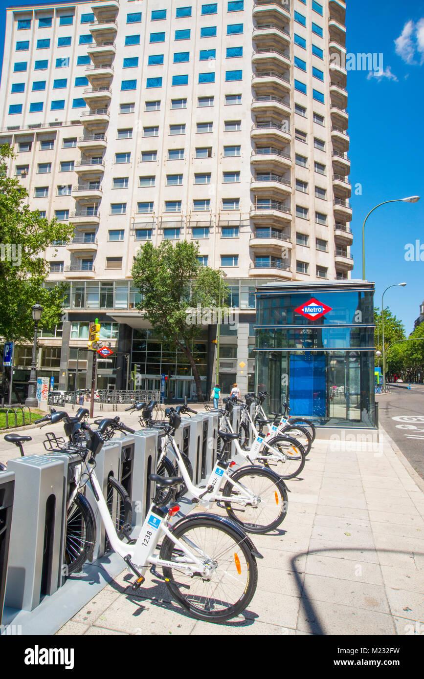 Bike parking. Plaza de España, Madrid, Spain. - Stock Image