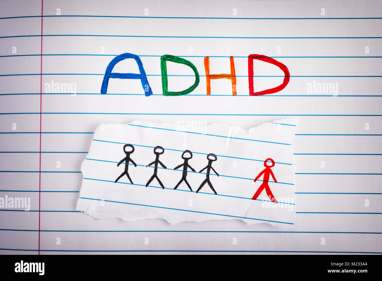 ADHD. Abbreviation ADHD on notebook sheet. Close up. ADHD is Attention deficit hyperactivity disorder. - Stock Image