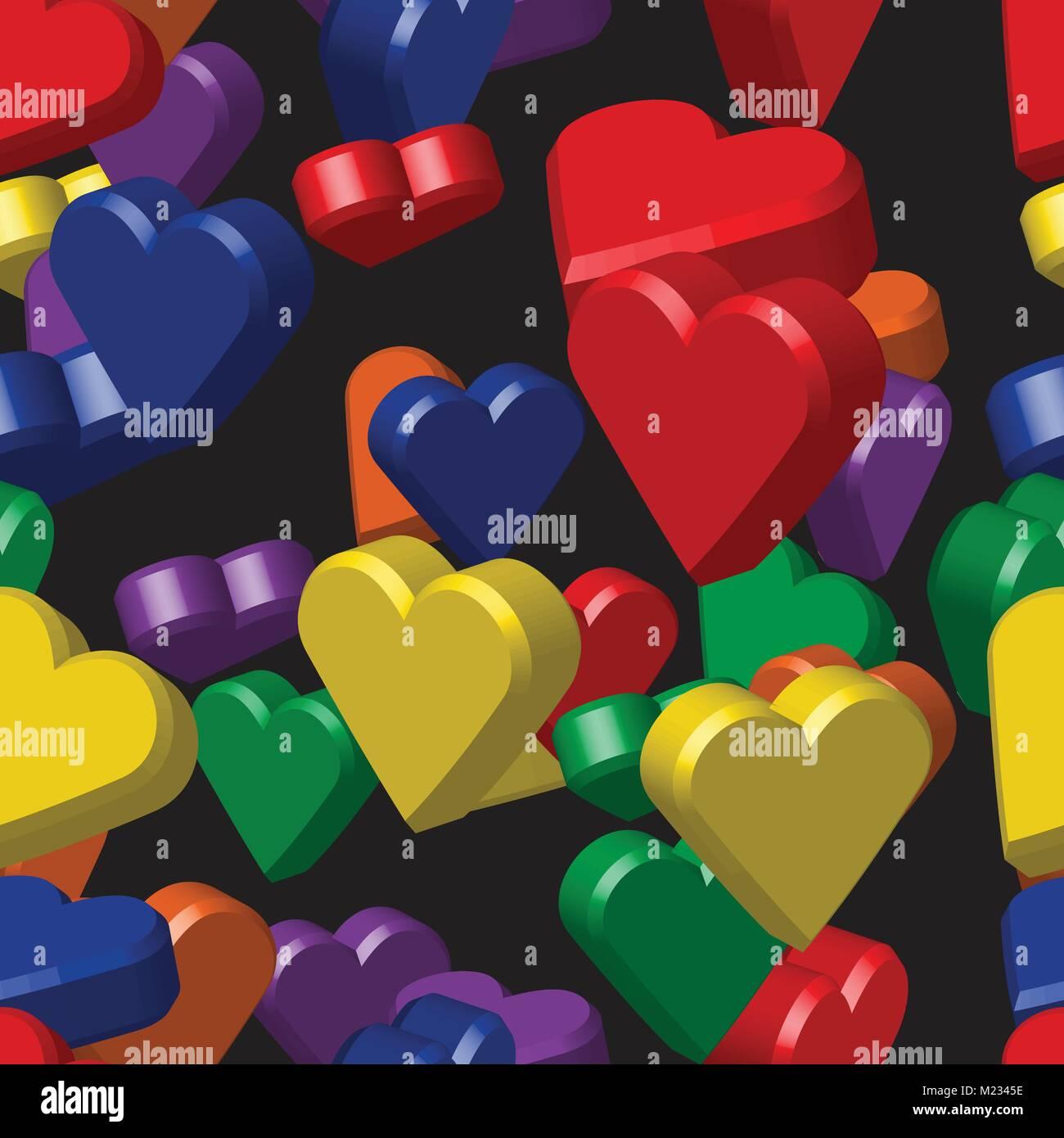 Rainbow Colors Hearts Seamless Pattern Stock Vector