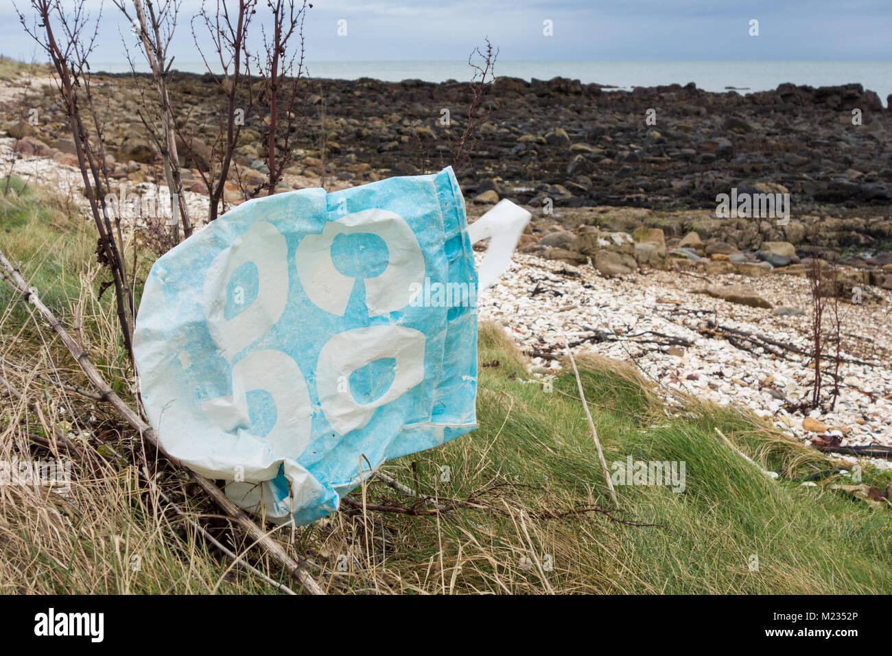 Coop supermarket reusable bag for life litter, UK - Stock Image