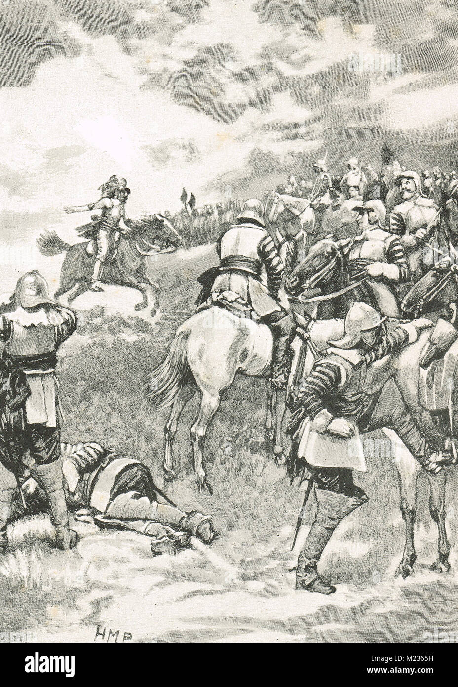Charles I, trying to rally his army, Battle of Naseby, 14 June 1645 - Stock Image