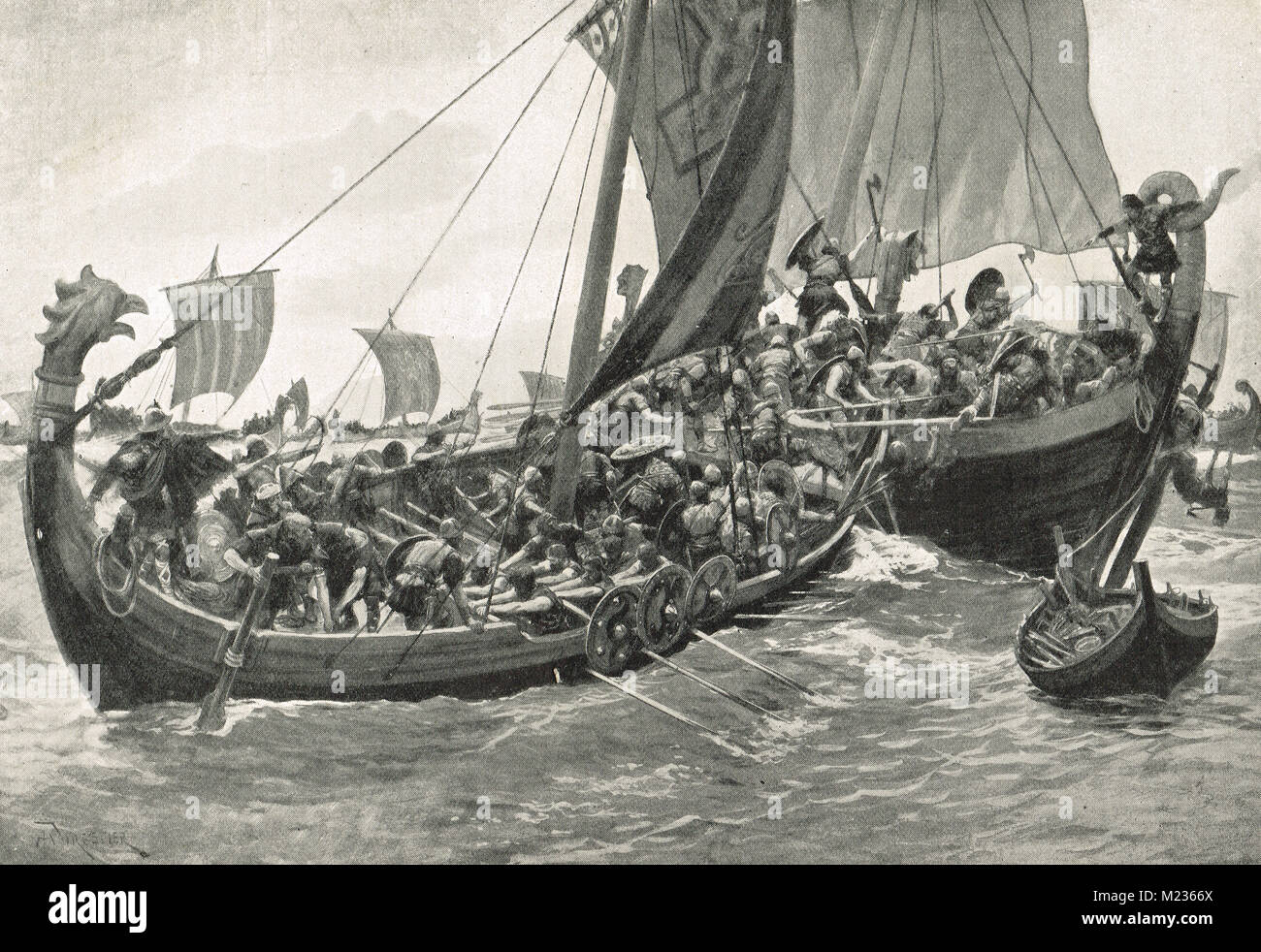 Britain's first naval battle, AD 897.  Alfred the Great's Navy defeating the Danes - Stock Image