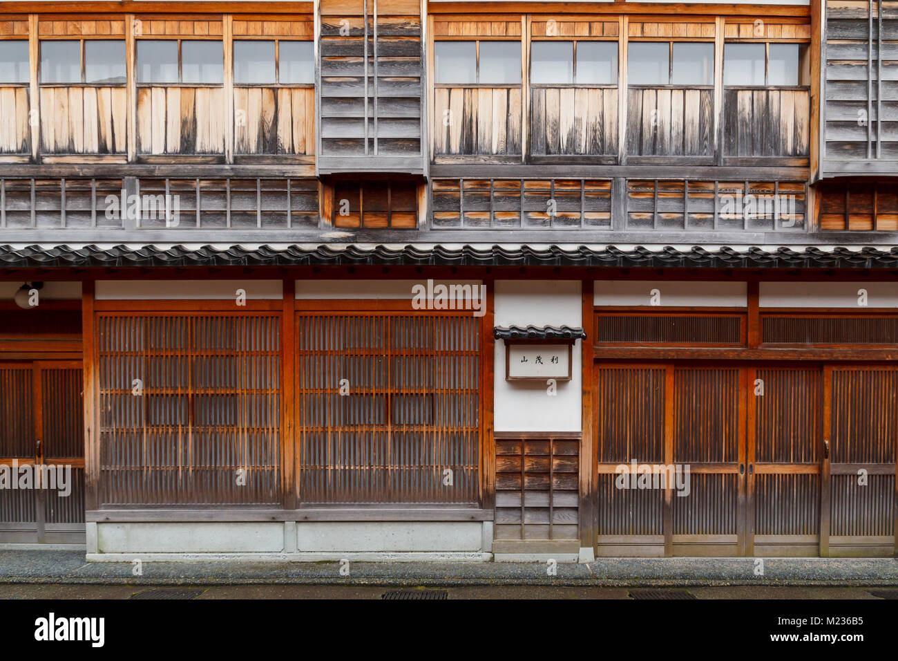 Traditional japanese wood facade in a typical house of Japan Stock Photo