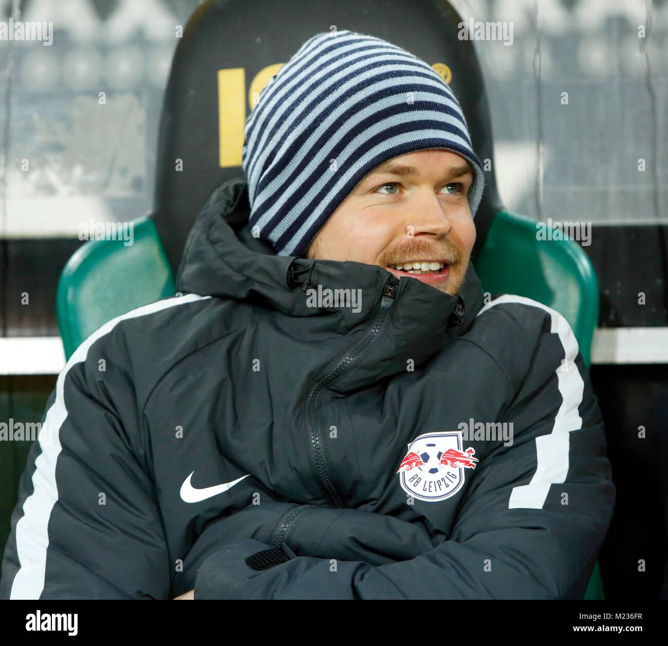 sports, football, Bundesliga, 2017/2018, Borussia Moenchengladbach vs RB Leipzig 0:1, Stadium Borussia Park, players - Stock Image