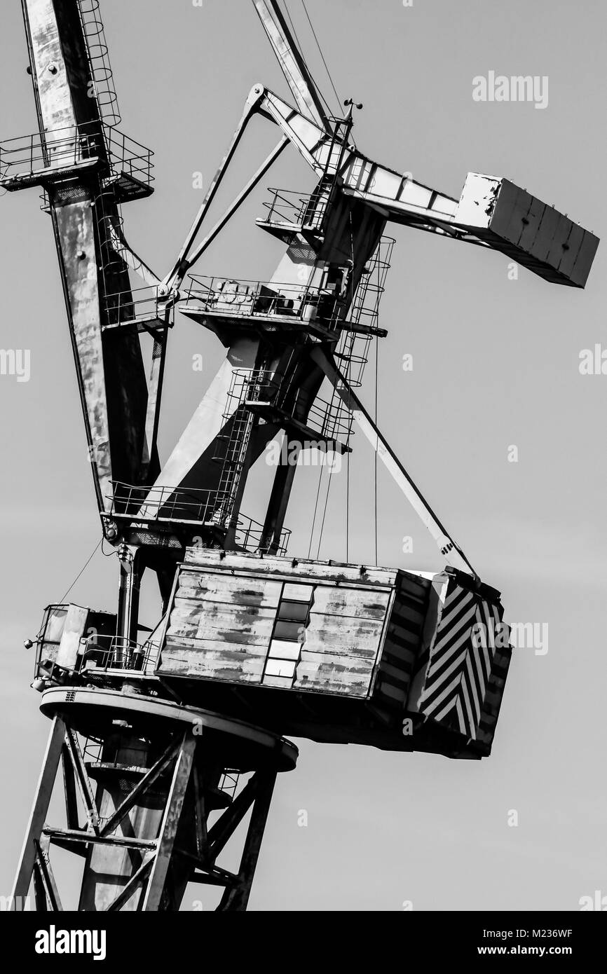 Gdansk shipyard poland retro style black and white cranes old shipyard buildings rusty structures