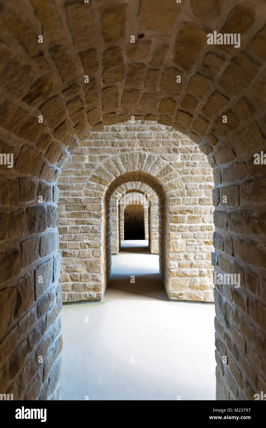 Stone arches in Luxembourg castle in Luxembourg City Stock Photo