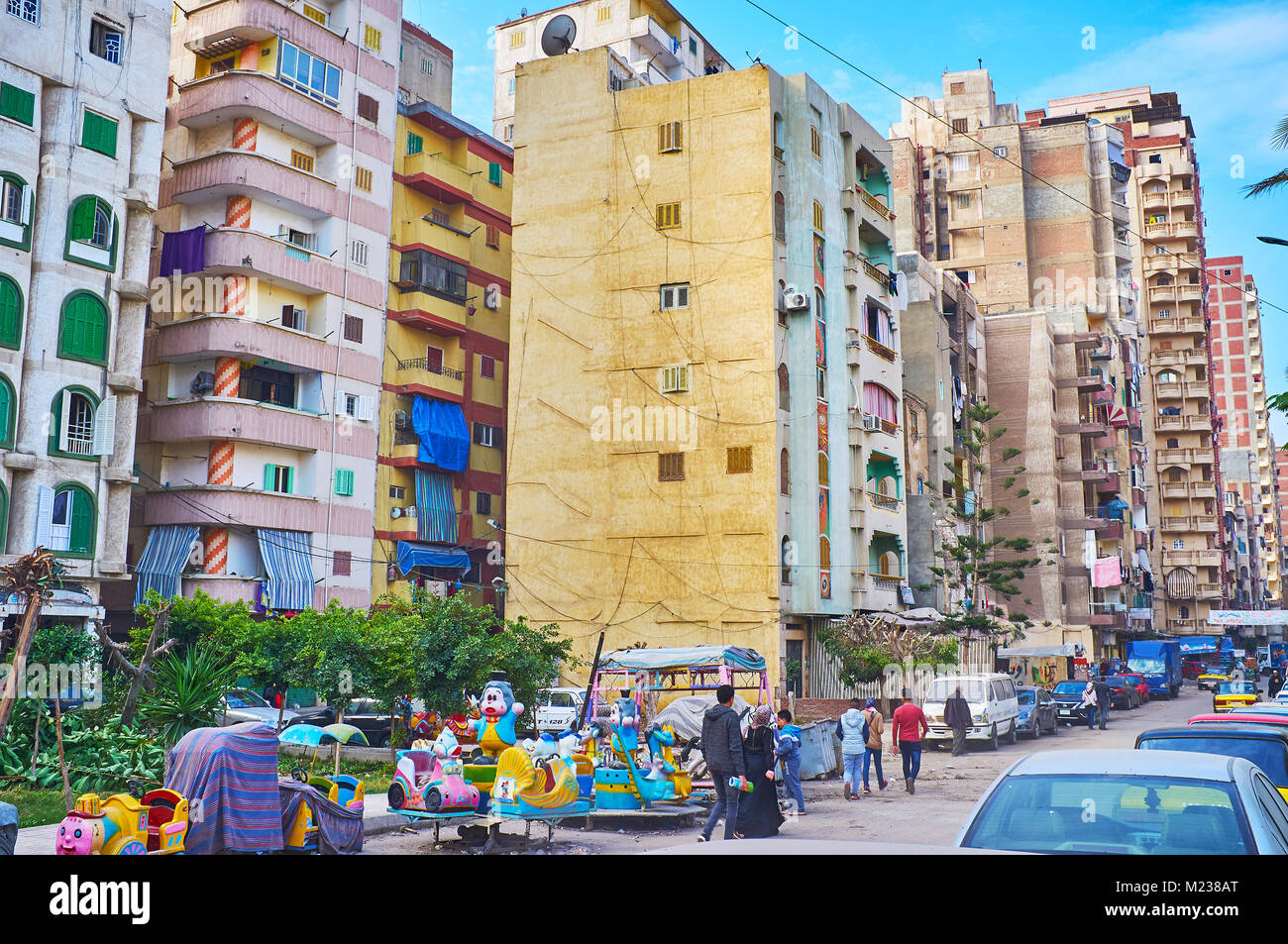 ALEXANDRIA, EGYPT - DECEMBER 17, 2017: The densely populated urban neighborhood in Alexandria with many multistory - Stock Image