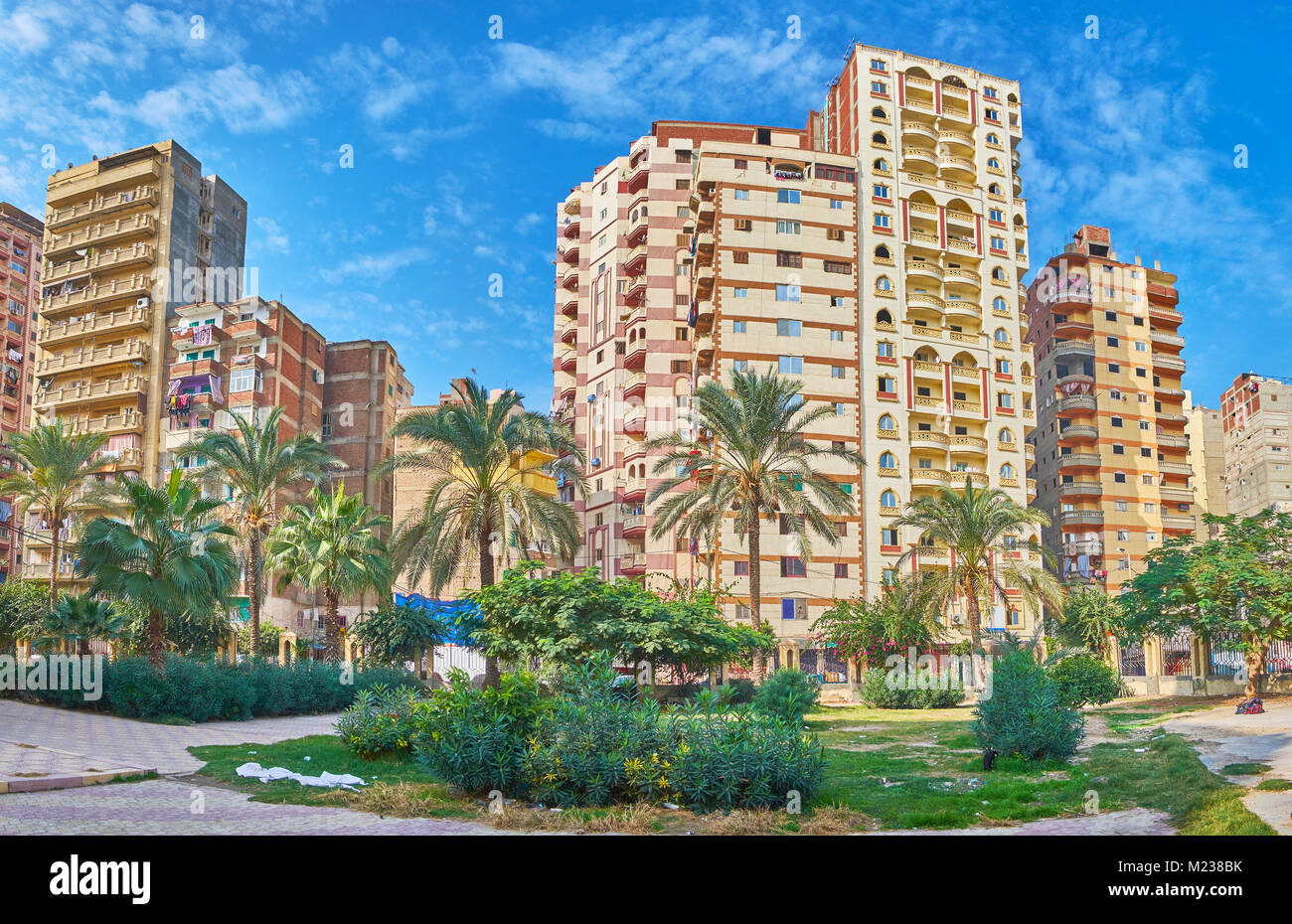 The scenic green garden with tall palms in front of the multistory buildings of El Gomrok neighborhood, Alexandria, - Stock Image