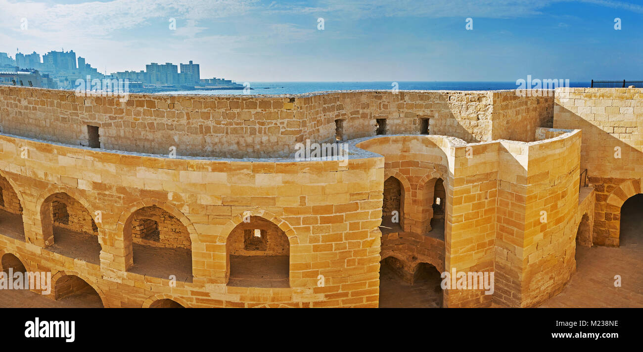 The ruins of medieval soldier barracks and food warehouses of Qaitbay Fort, Alexandria, Egypt. - Stock Image