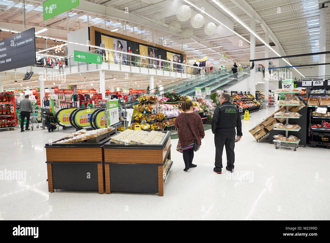 Asda trafford, the large two levels supermarket in manchester - Stock Image