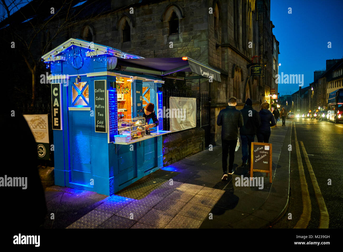 Edinburgh capital city of Scotland,  historic landmark royal mile, and old police box reused as a small cafe - Stock Image