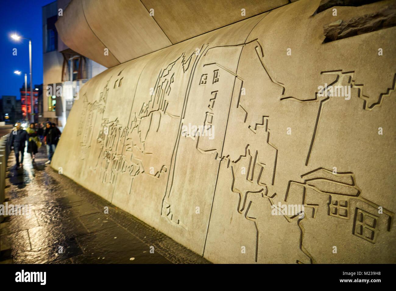 Edinburgh capital city of Scotland, façade is the Canongate Wall ...