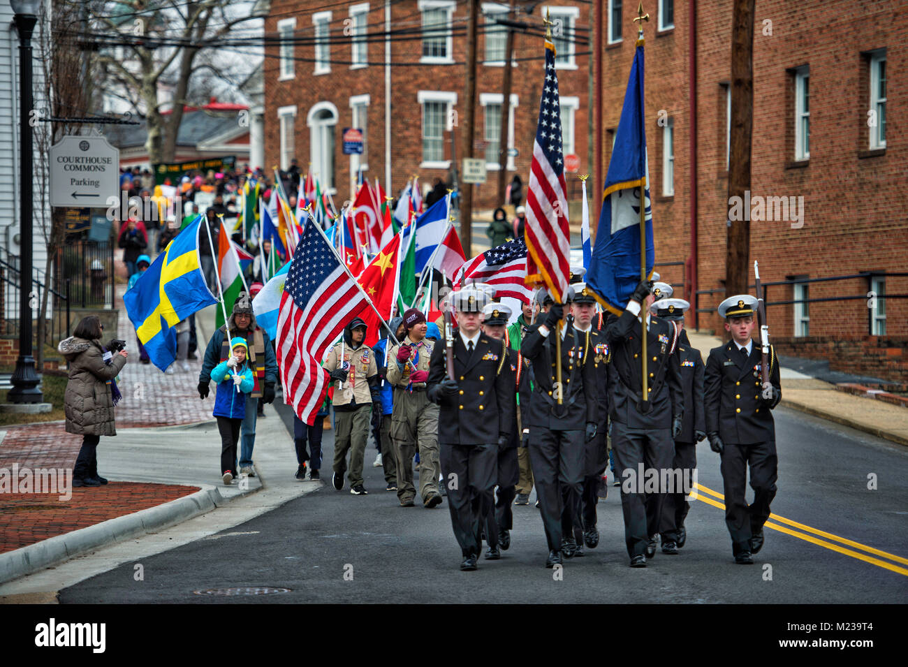 UNITED STATES - 01152018: Citizens march from Loudoun County Court House in downtown Leesburg to Douglass Community - Stock Image