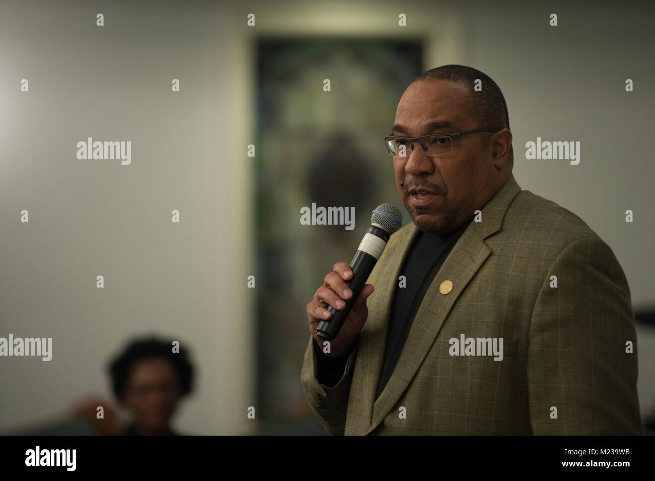 UNITED STATES: 01-22-2018: Loudoun County NAACP president Phillip Thompson addresses members of the NAACP before - Stock Image