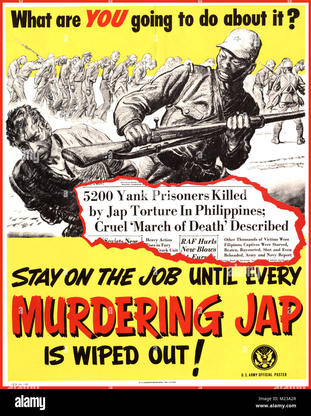 1944 American WW2 Propaganda Poster 'what are you going to do about it' STAY on the job until every murdering Jap - Stock Image