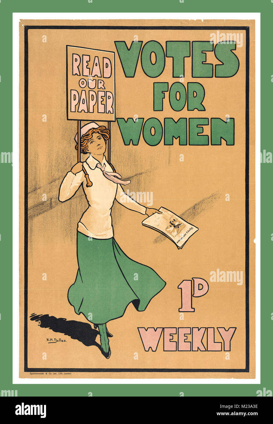 Vintage Suffrage Poster 'Votes for Women' 1d weekly Read Our Paper - Stock Image