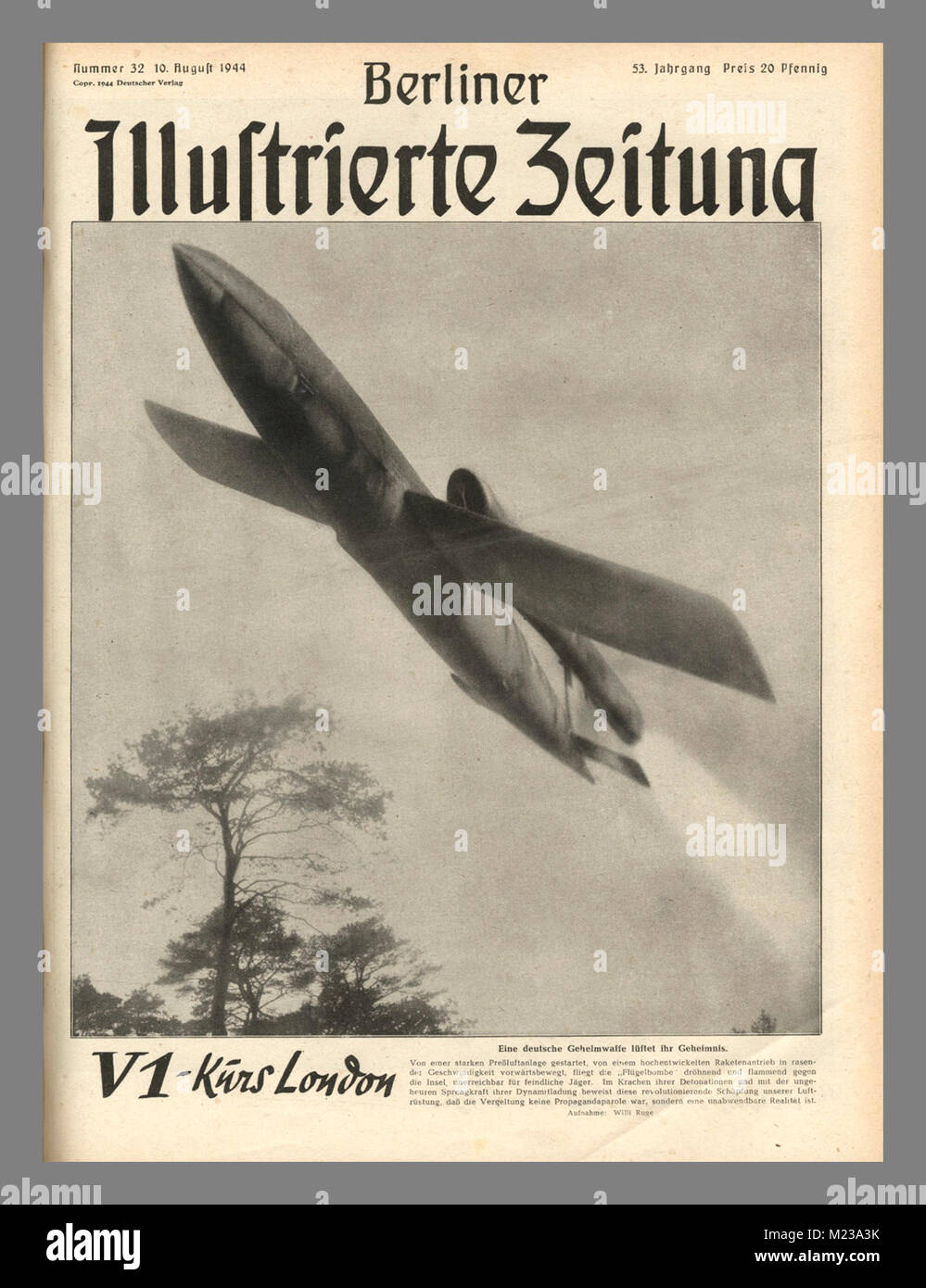 WW2 ...Nazi VI Rocket 'Buzz' Bomb 1944/1945 Nazi Propaganda to the German People The 'miracle terror weapon' - Stock Image