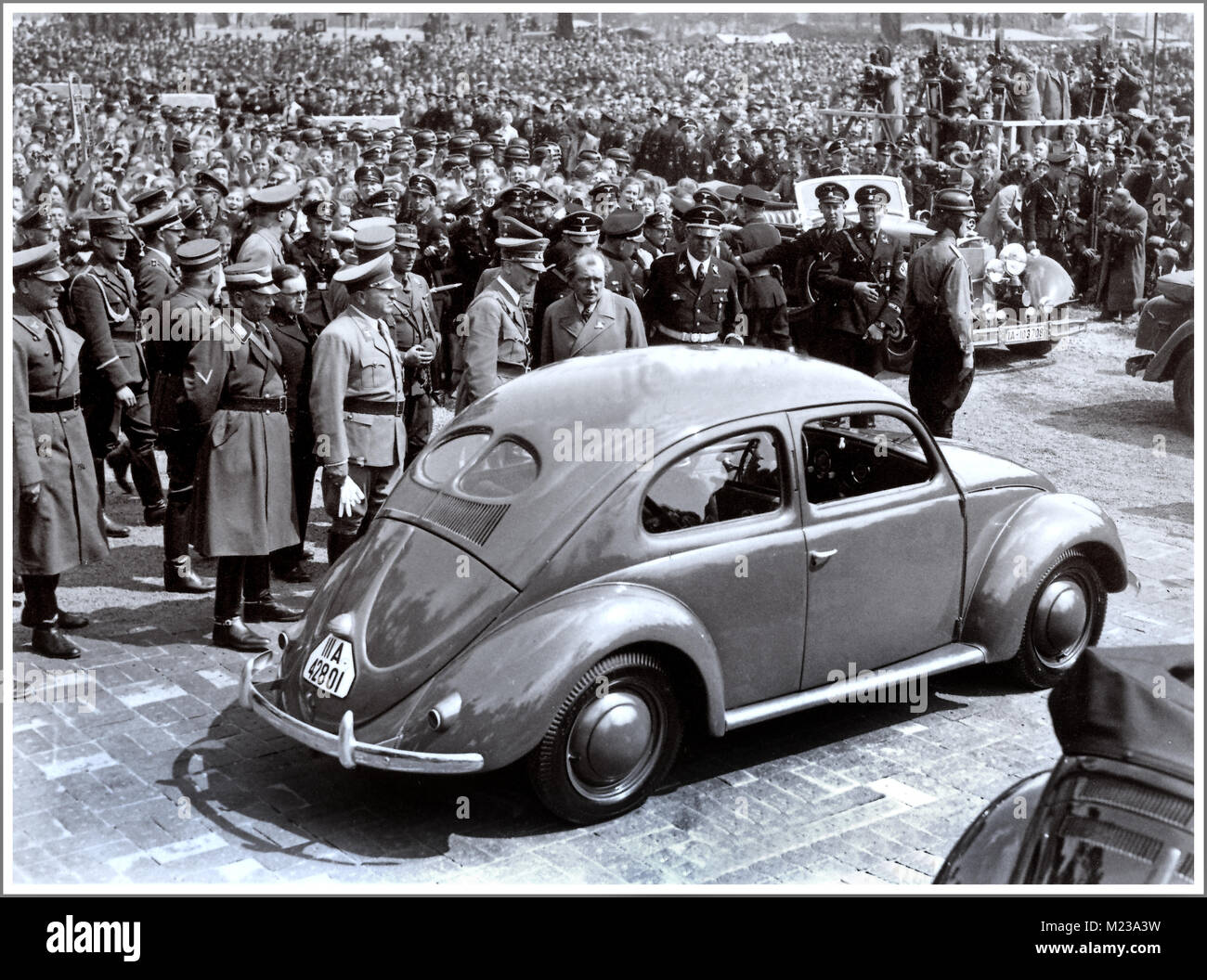 1930's ADOLF HITLER with DR. PORSCHE at the launch event of 'the people's car' KDF VW Volkswagen - Stock Image