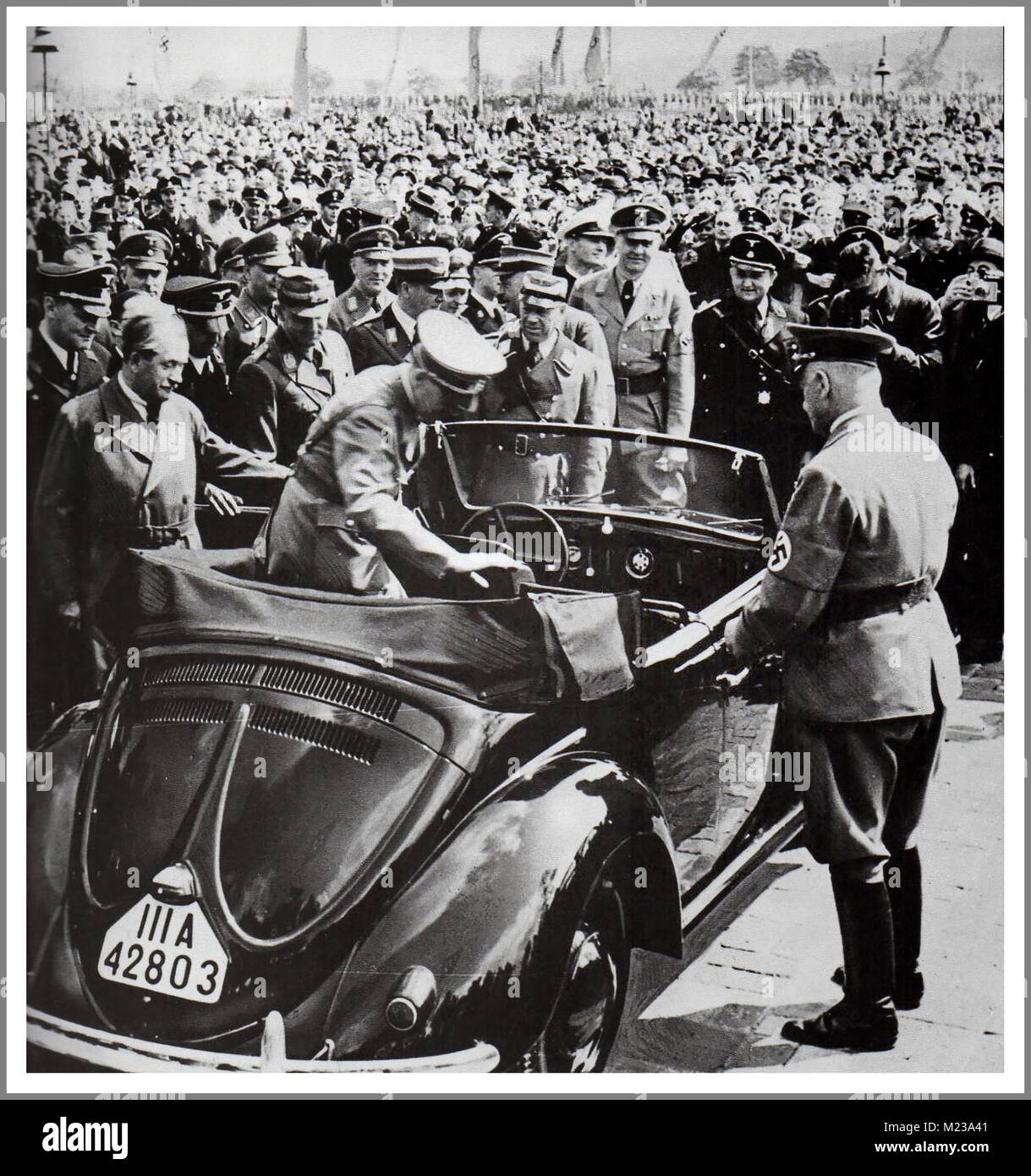 1930's ADOLF HITLER with DR. PORSCHE at the launch of 'the people's car' KDF VW Volkswagen Beetle - Stock Image