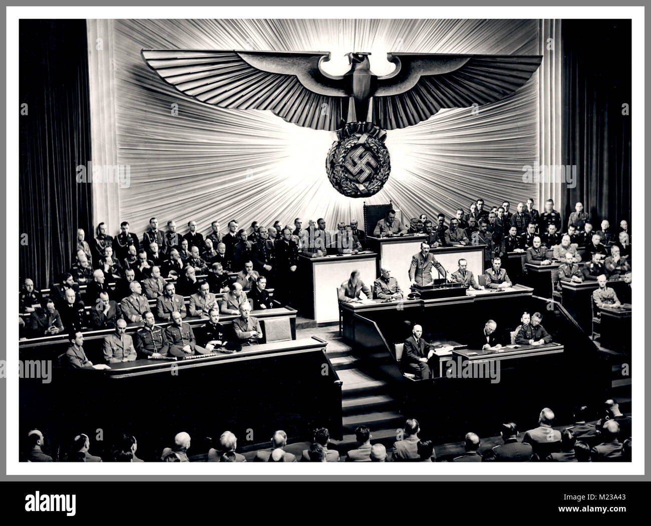 Nazi Propaganda Image Berlin Nazi Party assembly Reichstag Kroll Opera House Berlin Germany Adolf Hitler declares - Stock Image
