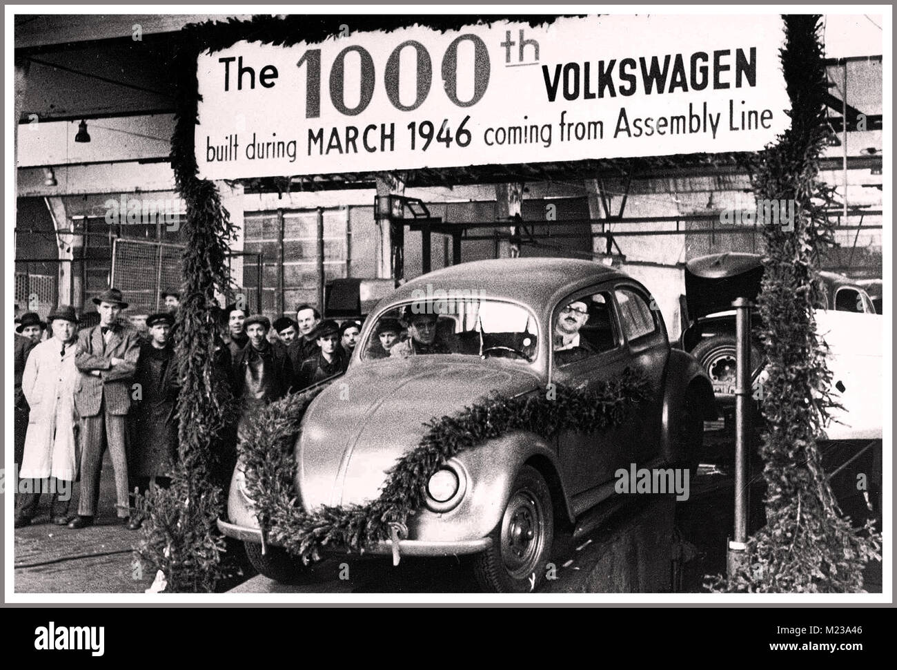 1946 Post -War Germany Volkswagen production resumes with British Army Allied help at Wolfsburg Germany with the - Stock Image