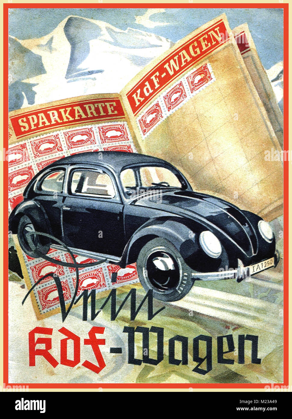 1930's KDF-Wagen Sparkarte Nazi Germany stamp purchasing scheme to buy 'The Peoples Car' a new Dr Porsche designed - Stock Image